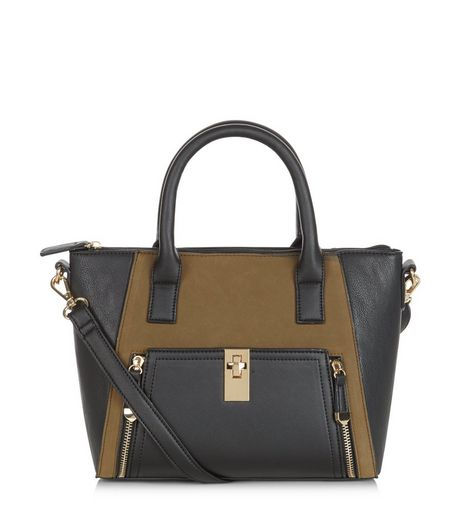 Khaki Colour Block Zip Pocket Structured Bag | New Look