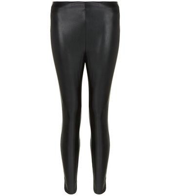 Petite Black Coated Leggings