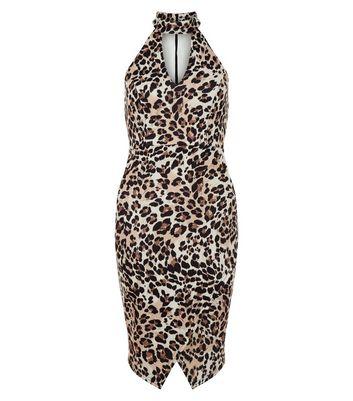 Petite Brown Leopard Print Cut Out Funnel Neck Dress
