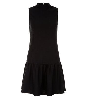 petite-black-funnel-neck-peplum-hem-dress