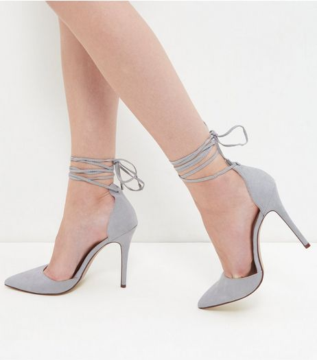 Grey Suedette Tie Ankle Strap Pointed Heels | New Look