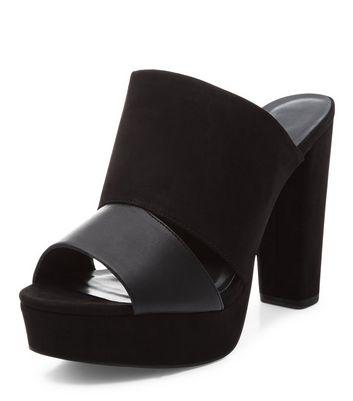 Sandalo  donna Black Contrast Double Strap Peep Toe Mules