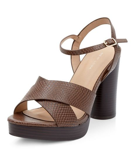 Tan Snakeskin Textured Cross Strap Block Heel Sandals  | New Look