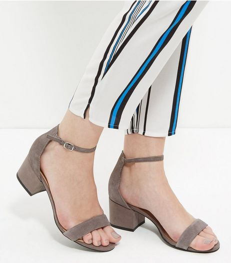 Grey Leather Block Heel Sandals  | New Look