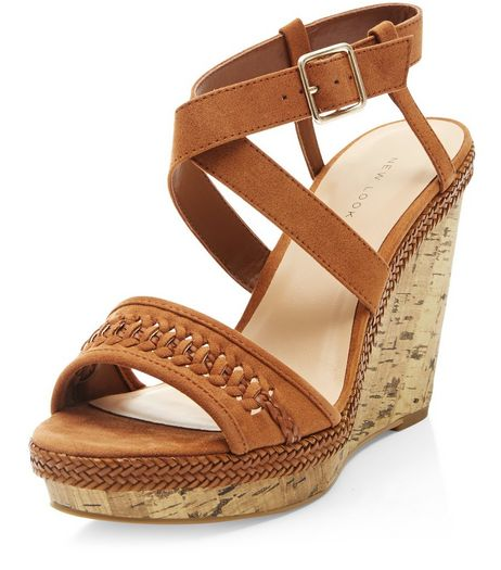 Tan Suedette Woven Strap Wedges  | New Look