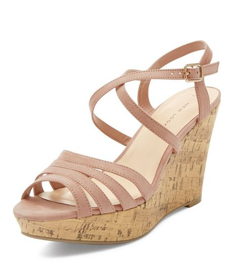 Pink Suedette Multi Strap Wedge Sandals  | New Look