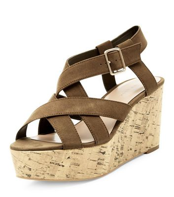 Sandalo  donna Khaki Suedette Cross Strap Cork Platform Wedge Sandals