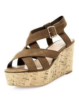 Khaki Suedette Cross Strap Cork Platform Wedge Sandals  | New Look