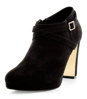 Black Suedette Metal Trim Block Heel Shoe Boots