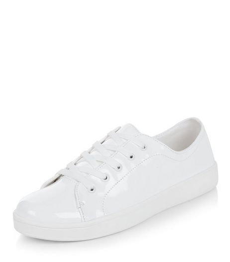 White Patent Lace Up Plimsolls | New Look