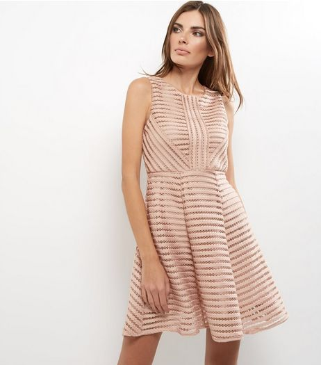 AX Paris Shell Pink Cut Out Ladder Dress | New Look