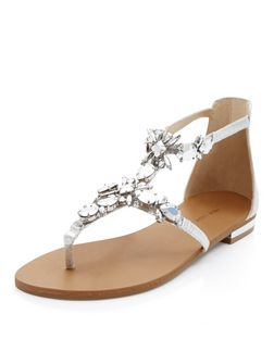Silver Gem Stone Sandals  | New Look