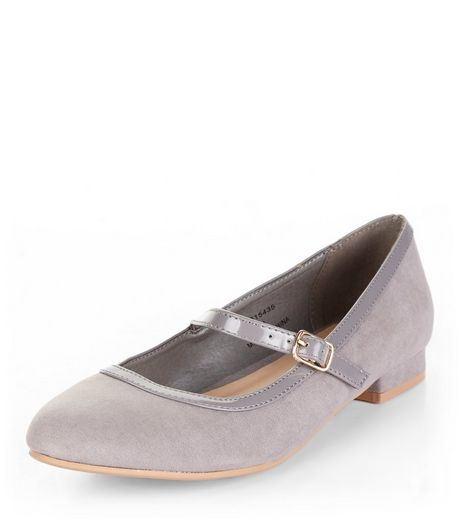 Teens Grey Suedette Block Heel Pumps | New Look