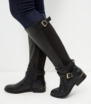 black leather look boots