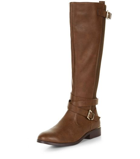 Tan Leather-Look Riding Boots  | New Look