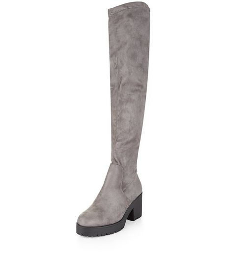 Wide Fit Grey Suedette Block Heel Over The Knee Boots | New Look