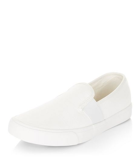 Teens White Slip On Plimsolls  | New Look