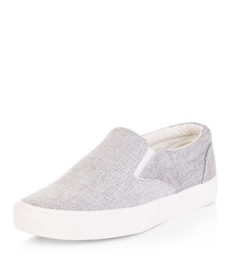 Teens Silver Textured Slip On Plimsolls | New Look