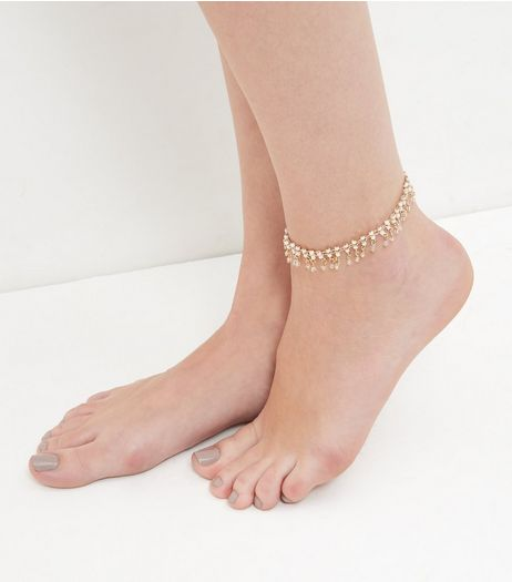 Pink Beaded Drop Anklet  | New Look