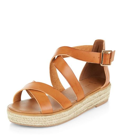 Wide Fit Tan Cross Strap Espadrille Sandals  | New Look