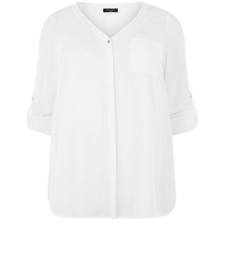 Curves White Roll Sleeve Shirt | New Look