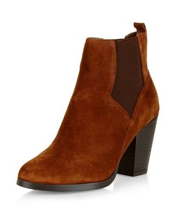 Tan Suede Western Chelsea Boots  | New Look