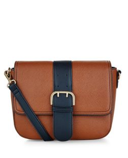 Tan Contrast Buckle Saddle Bag | New Look