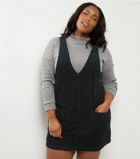 Curves Dark Green Cord Pinafore Dress  | New Look
