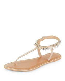 Wide Fit Leather Feather Trim Sandals  | New Look