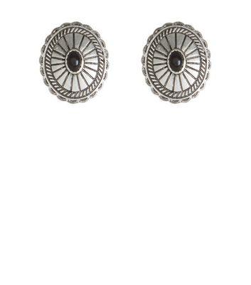 Silver Disc Stud Earrings