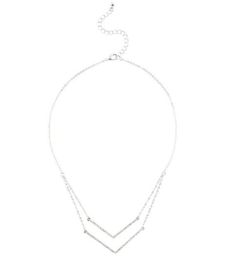 Crystal Diamante Layered V Necklace | New Look