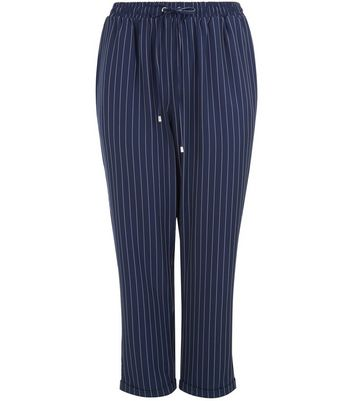 Curves Navy Pinstripe Joggers