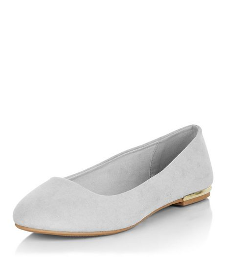Wide Fit Grey Suedette Metal Trim Ballet Pumps | New Look
