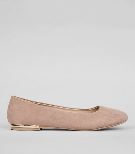 Wide Fit Cream Suedette Metal Trim Ballet Pumps | New Look