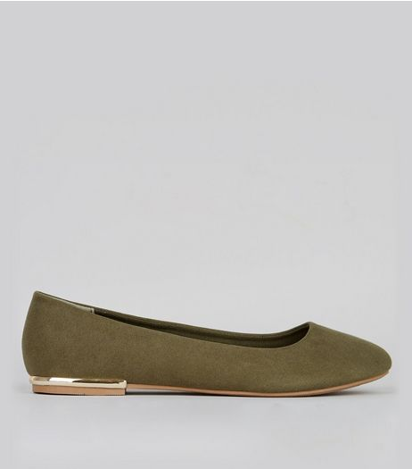 Wide Fit Khaki Suedette Metal Trim Ballet Pumps | New Look