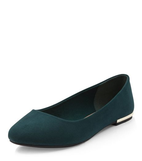 Wide Fit Dark Green Suedette Metal Trim Ballet Pumps  | New Look