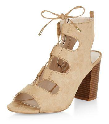 Sandalo  donna Wide Fit Camel Suedette Ghillie Block Heels