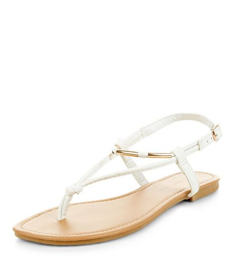 Wide Fit White Metal Trim Sandals | New Look
