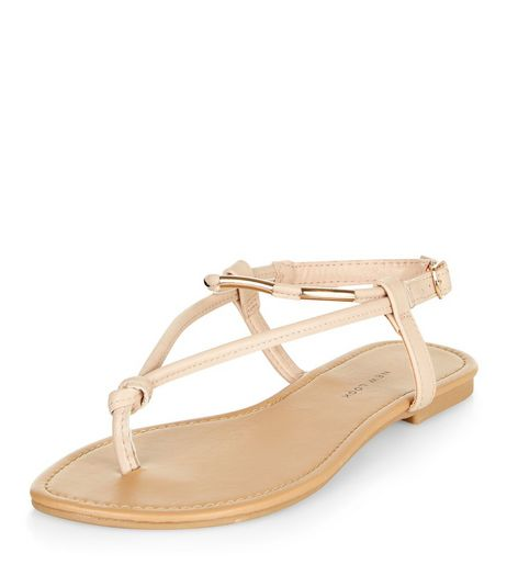 Wide Fit Cream Metal Trim Sandals | New Look