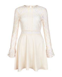 AX Paris Cream Lace Long Sleeve Skater Dress | New Look