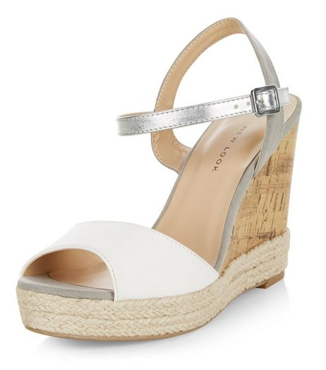 Wide Fit White Contrast Wedges | New Look