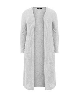 Curves Grey Ribbed Longline Cardigan | New Look