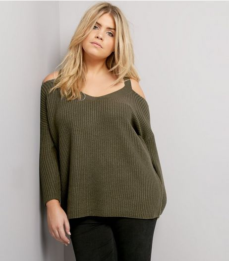 Curves Khaki Cold Shoulder V Neck Jumper | New Look
