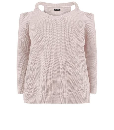 Curves Pink Cold Shoulder Jumper | New Look