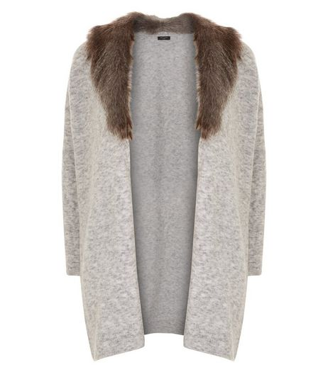 Curves Grey Faux Fur Collar Longline Cardigan  | New Look