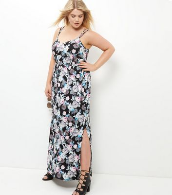 Curves Blue Rose Print Strappy Maxi Dress