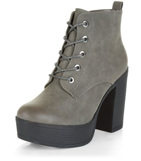 Wide Fit Grey Suedette Lace Up Block Heel Boots  | New Look