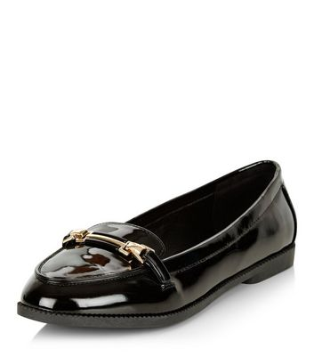 Mocassini  donna Black Patent Metal Trim Loafers