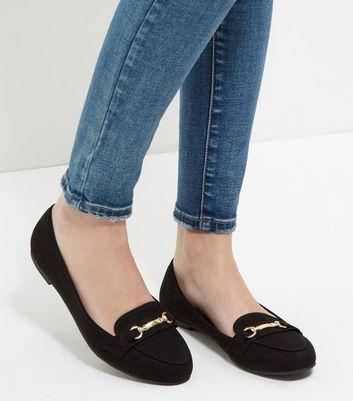 Mocassini  donna Black Suedette Bar Strap Loafers
