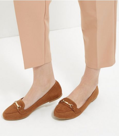 Tan Suedette Bar Strap Loafers  | New Look